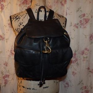 DKNY Leather Drawstring Backpack